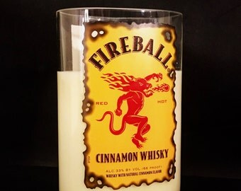 Recycled Fireball Cinnamon Whisky Bottle Candle