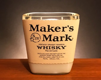 Recycled Maker's Mark Whisky Bottle Candle