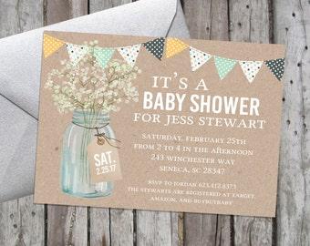 Printable Baby Shower Invitation, Gender Neutral Invitation, Boy Baby Shower, Print at Home invitation, DIY Printable Baby Shower Invitation
