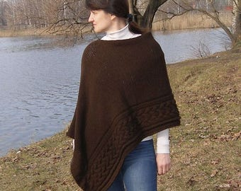 Brown hand knit cabled poncho womens knitted poncho wool winter poncho knit cape chunky knit poncho poncho knitted cape