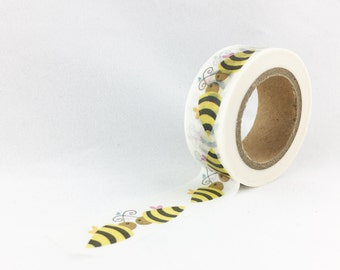 Yellow & Black Bumble Bee Insect Washi Tape // 15mm // Paper Tape // BBBsupplies {CR-W-P588}