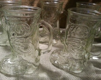 Set of Six Glass Boot Drinking Glasses Cowgirl Cowboy Boot Farm Glasses