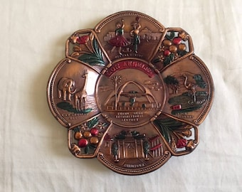 Vintage Los Angeles California Copper Travel Souvenir Plate