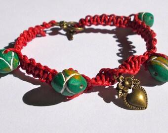 Macrame Bracelet created using Green Oval Handmade Indian Clay Beads - Length 20cm