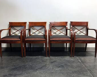 BAKER FURNITURE CO Satinwood Arm Chairs - Set of 4