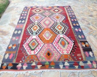 "Turkish Kilim rug, vintage rug, 117"" x 77"", red and blue rug, area rug, Kilim rug, Vintage rug, kelim rug, vintage bohemian rug, 408"