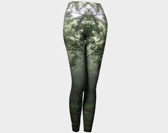 High Waisted Leggings, Printed Leggings, Walk in the Woods, Made in Canada Leggings, Meditation Clothing, Eco Friendly Leggings