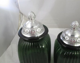 3 Dark Green Glass Canisters