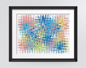 Multicoloured Colourful Ripples Modern Abstract Art Print, Printable artwork INSTANT DOWNLOAD