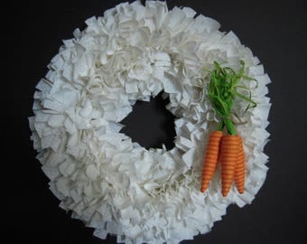 White Rag Wreath with Carrots
