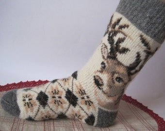Nordiс Beautiful knitted Men socks of high quality Angora wool yarn. Knitted pattern Deer EU-42-44/ US-9-10. Soft, warm and very comfortable