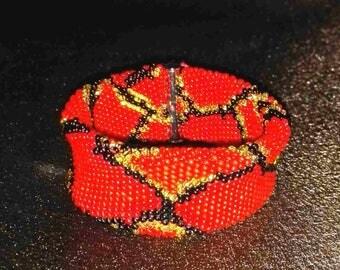 Python red Python bracelet bead bracelet jewelry beadwork modern bead rope bracelet bead crochet jewelry thick bracelet unique gift snake