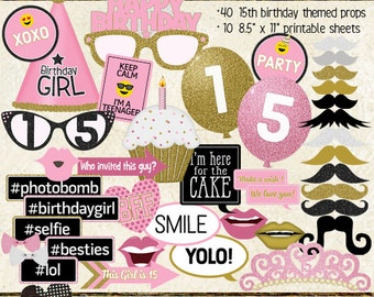 Photo Booth Props, HAPPY 15TH BIRTHDAY, girl, printable sheets, instant download, pink, gold, party