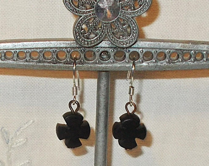 Vintage 90s One Of A Kind Handmade Goth Steampunk Black Horn Cross Copper Drop Dangle Stainless Steel Earrings