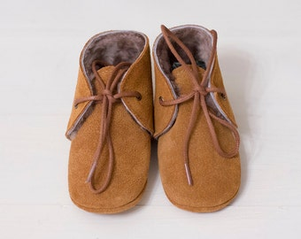 Brown suede  moccasins with fur lining  Infant, newborn, toddler shoes