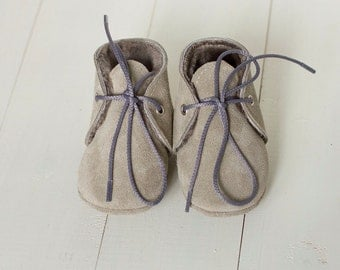 Grey suede  moccasins with fur lining  Infant, newborn, toddler shoes