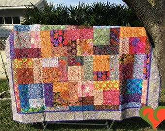Kaffe Fassett Queen Sized Bed Quilt or King Sized Bed Coverlet. One of A Kind. Free Shipping.