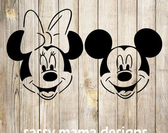 Mickey Mouse and Minnie Mouse SVG, GSP, PNG Design, Cuttable Design