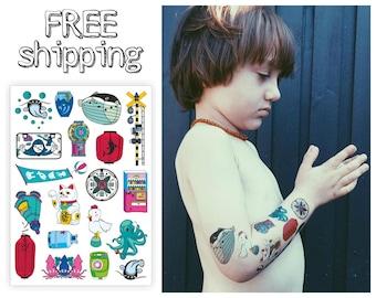 "Temporary kids tattoos ""Japan city"". Cartoon manga chicken, catfish, whale, octopus, squid, candy tatts. TA025"