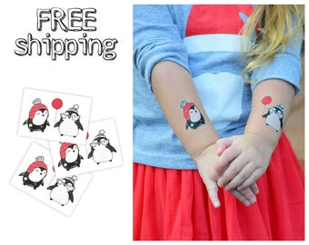 Set of 3 tatts «Penguins». St. Valentines themed winter love kids temporary tattoos with  kawaii animals. Party bag supply. TT167