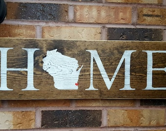 Wisconsin Home State Home Decor Wisconsin Art Rustic Home Decor Reclaimed Wood