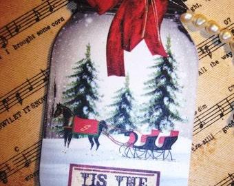 FOUR Large Vintage Christmas Mason Jar hang Tags / Gift Tags