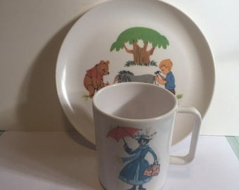 Vintage melmac Mary Poppins cup and Winniw the Pooh plate