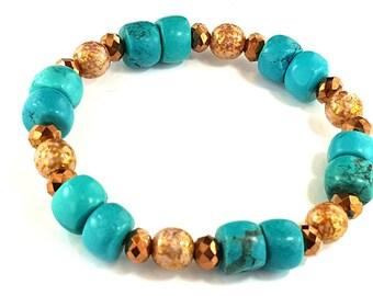 Bridesmaid Prom Wedding Turquoise Copper stretch bracelet