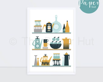 Kitchen | Art Print Mustard Grey & Turquoise | Scandinavian Retro Contemporary