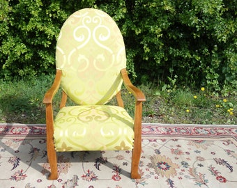Antique Oval Armchair, Old Lime Green Upholstered Chair, Vintage Nursing Chair
