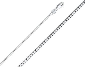"""0.8mm 14k Solid White Gold Chain Necklace Box Chain With Lobster Lock 16"""" - 24"""""""