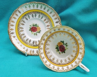 Royal Stafford Vintage Tea Cup And Saucer Yellow And Red Roses With Yellow Band and Patterned Gold English Bone China Cheerful