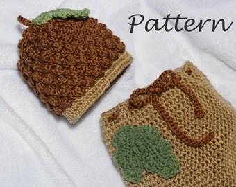 PDF Pattern - Crochet Acorn Hat and Snuggle Sack, Baby Acorn Hat, Acorn Snuggle Sack, Crochet Acorn Beanie, Photo Prop