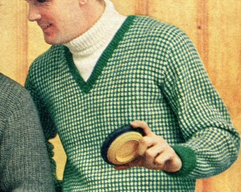 1950's Men's Tweed Stitch Pullover Sweater Knitting Pattern PDF Instant Download
