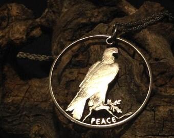 Vintage Cutout Silver Peace Dollar Necklace