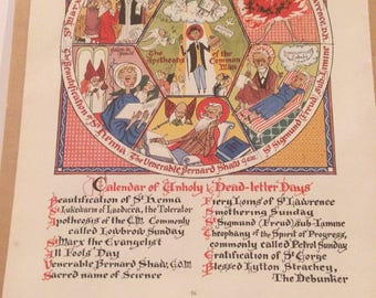 """Vintage Page from 1953 PUNCH Magazine--""""Calendar of Unholy Dead Letter Days""""-Norman Mansbridge"""