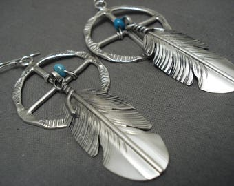 Important '4 Directions' Navajo Ben Begaye Turquoise Silver Feather Earrings