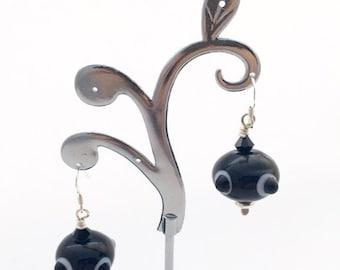 Black and white earrings / monochrome earrings / lamp work bead earrings / everyday earrings / elegant earrings / birthday gift for sister
