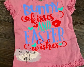 FREE SHIPPING***Bunny Kisses & Easter Wishes Toddler/Youth Shirt. Easter, Clothing, Jesus,Christian Apparel,Easter Bunny, Ruffle Sleeve