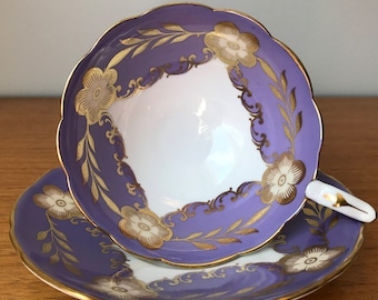 Vintage Royal Stafford Purple Tea Cup and Saucer, Gold Flower Teacup and Saucer, Bone China, Princess Tea Party
