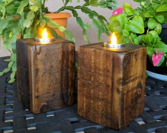 Pair of Rustic Tea Candle Holders made from Reclaimed & Repurposed Wood