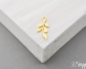 925 Sterling Silver leaf gold plated, leaf pendant, leaf charms, leaf, twig silver, twig, sprig silver, sprig pendant, sprig charms