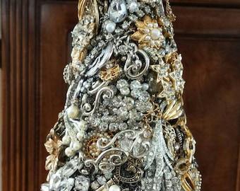 "Jeweled Christmas Tree, Rhinestone tree, heirloom, unique, handmade, Custom, ""ALL THINGS BEAUTIFUL"", Mother's Day, sparkle,romantic, ooak"