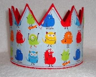 Monster Birthday Crown, Monster Party Hat, Boys Birthday Hat, Felt Birthday Crown, Boys Birthday Crown, Play Crown, Kids Crown
