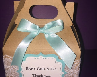 Lace baby & co favor boxes/ birthdays/ baby showers