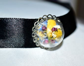 Real Dried Magical Flower Dome Vial Choker Necklace