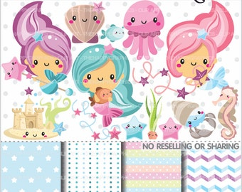 Mermaid Clipart, 80%OFF, Mermaid Graphics, COMMERCIAL USE, Ocean Graphics, Under The Sea Clipart, Planner Accessories, Mermaid Party