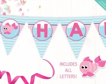 Instant Download Pink Goldfish Printable Party Banner, Goldfish Happy Birthday banner, Fish Bowl Party, Includes ALL Letters + Ages