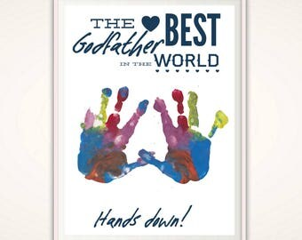 Godfather Gift - Personalized Gift for Godfather, Godparent Gift,  INSTANT Download DIY Handprint Art, Baptism Gift, Christening Gift, PDF