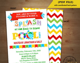 Back to school pool party invitation End of school pool party splash bash invite chalkboard Instant Download YOU EDIT TEXT & print 5830